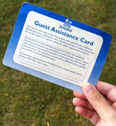 Disney Guest Assistance Card, courtesy of Babble